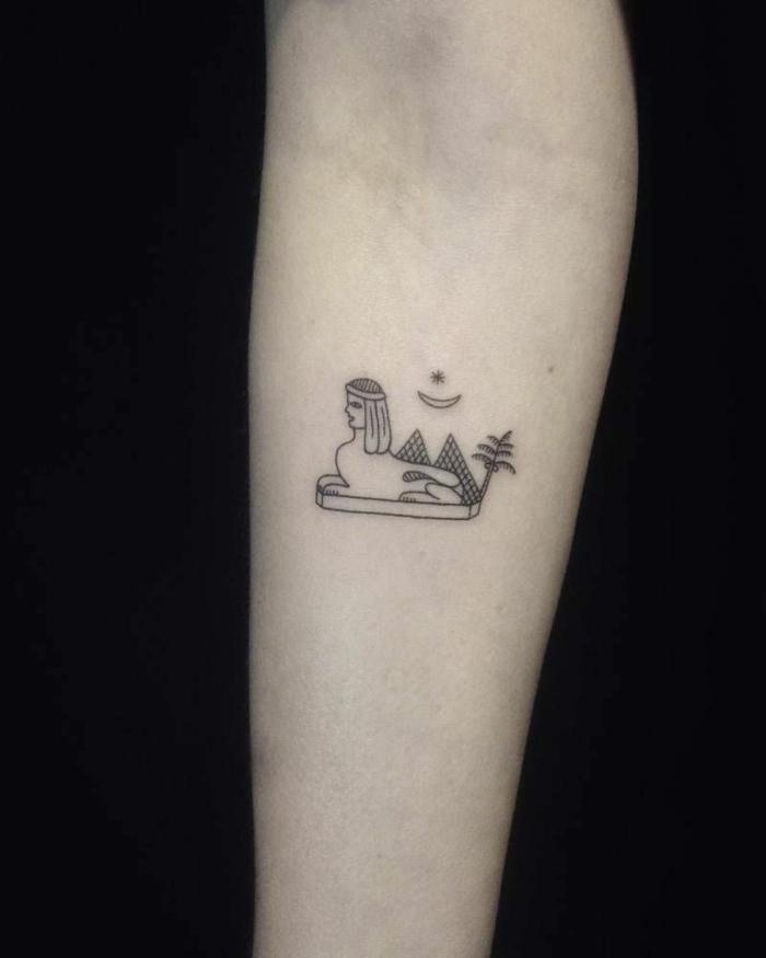 ejemplos de tatuajes-minimalistas con fuerte significado inspirados en la cultura del antiguo Egipto, más de 70 fotos de tatuajes