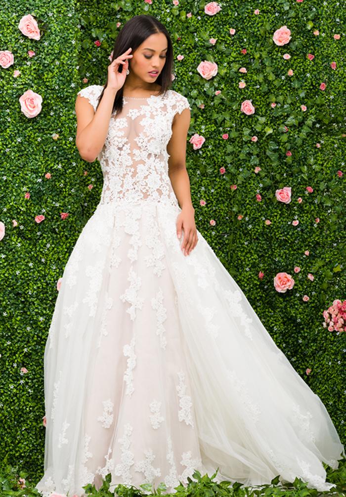 diseños de vestidos de novia de encaje y tul, precioso vestido color blanco con cintura baja, más de 90 ideas de vestidos de novia