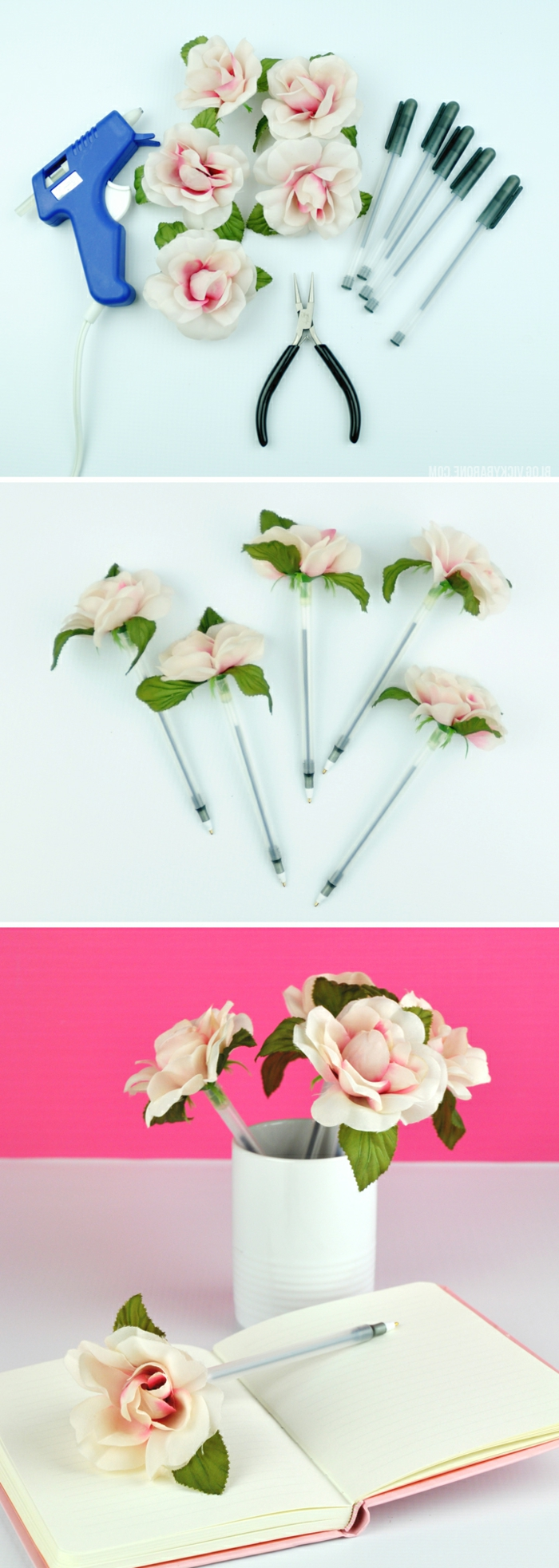 como hacer regalos para profesoras paso a paso, detalles hechos a mano con bolígrafos y flores aritficiales, regalos DIY