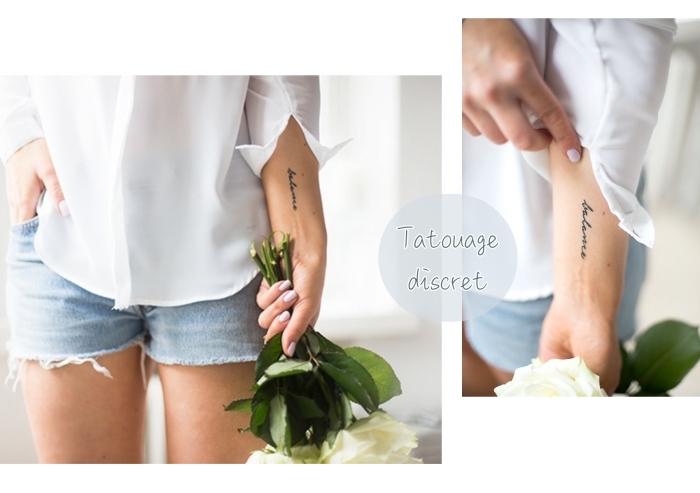 fotos de tatuajes discretos en el antebrazo, letras escritas en cursiva, tatuajes bonitos para mujeres en el brazo, diseños de tattoos