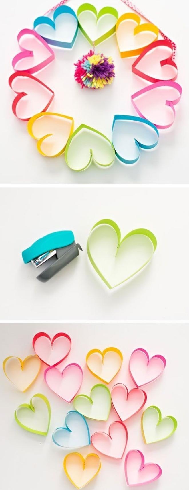 super originales ideas de manualidades de primaria, corazones de papel coloridas hechos a mano, manualidades niños pequeños