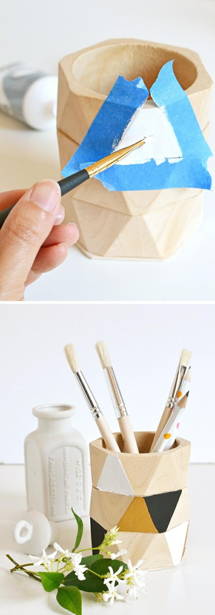 originales propuestas de decoración hogar DIY, como hacer manualidades paso a paso, decoración de madera con motivos geométricos