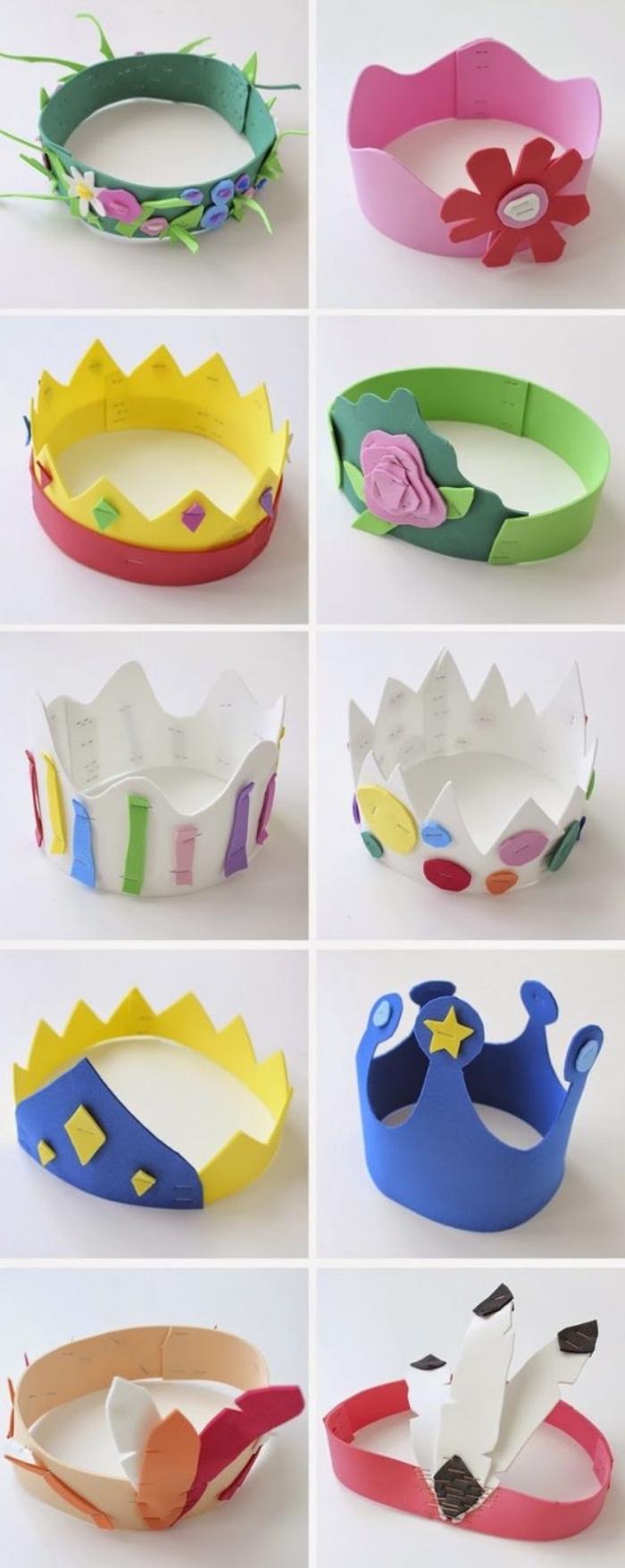 mini coronas hechas de papel, manualidades de papel para niños pequeños, manualidades faciles para niños originales