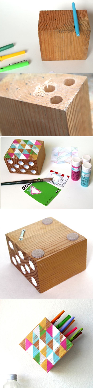bloques de madera decorados de manera original, ideas sobre como hacer un lapicero DIY original, como hacer manualidades