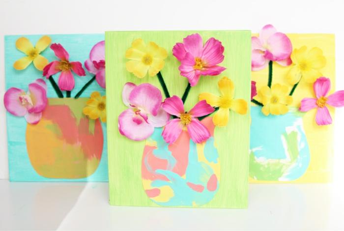 cuadros decorativos super bonitos con flores artificiales, cuadros pintados a mano en colores llamativos, ideas de regalos para profesoras