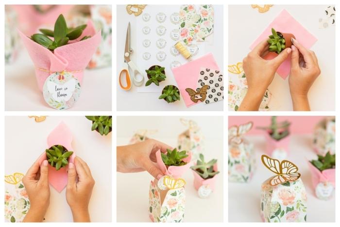 como decorar una planta suculenta pequeña paso a paso, regalos DIY únicos para hacer en casa, regalos invitados de boda
