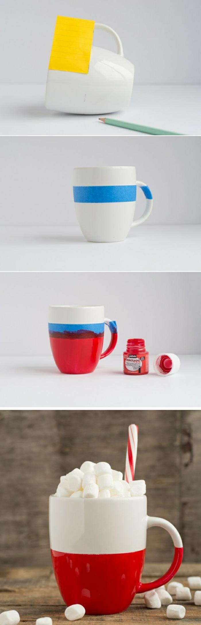 tazas decoradas en rojo y azul, ideas de decoración casera original, manualidades para niños faciles y rapidos para hacer en casa