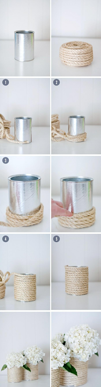 ideas para decorar la casa con latas, latas decoradas con hilo macrame, las mejores ideas de proyectos DIY caseros