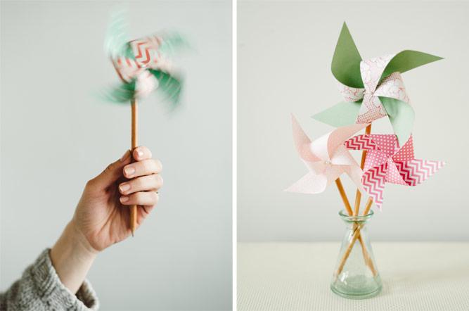 molinillo de viento DIY para hacer en casa, ingeniosas propuestas de manualidades para niños de primaria faciles