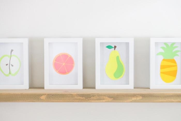 ideas de manualidades para niños de primaria faciles, cuadros decorativos con dibujos infantiles de frutas, manualidades para regalar