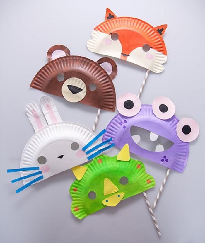 manualidades para niños de primaria con papel, manualidades para niños de primaria faciles, máscaras divertidas y originales, máscaras animales hechas de platos reciclados
