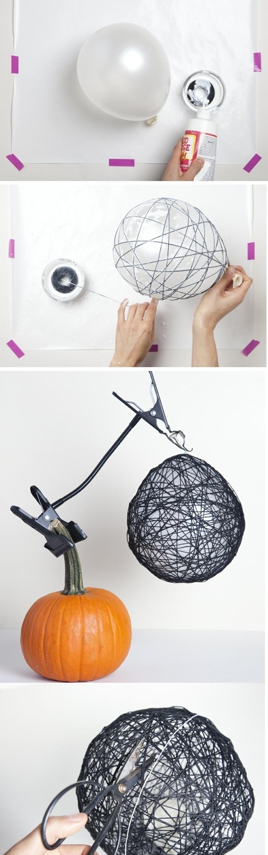 como hacer lámparas originales de hilo y globo, manualidades para hacer en casa fáciles paso a paso, tutoriales de manualidades