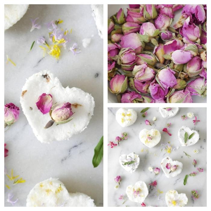 regalos para profesoras hechos a manos, bombas de baño con hojas de rosas secas, bombas de baño en forma de corazón