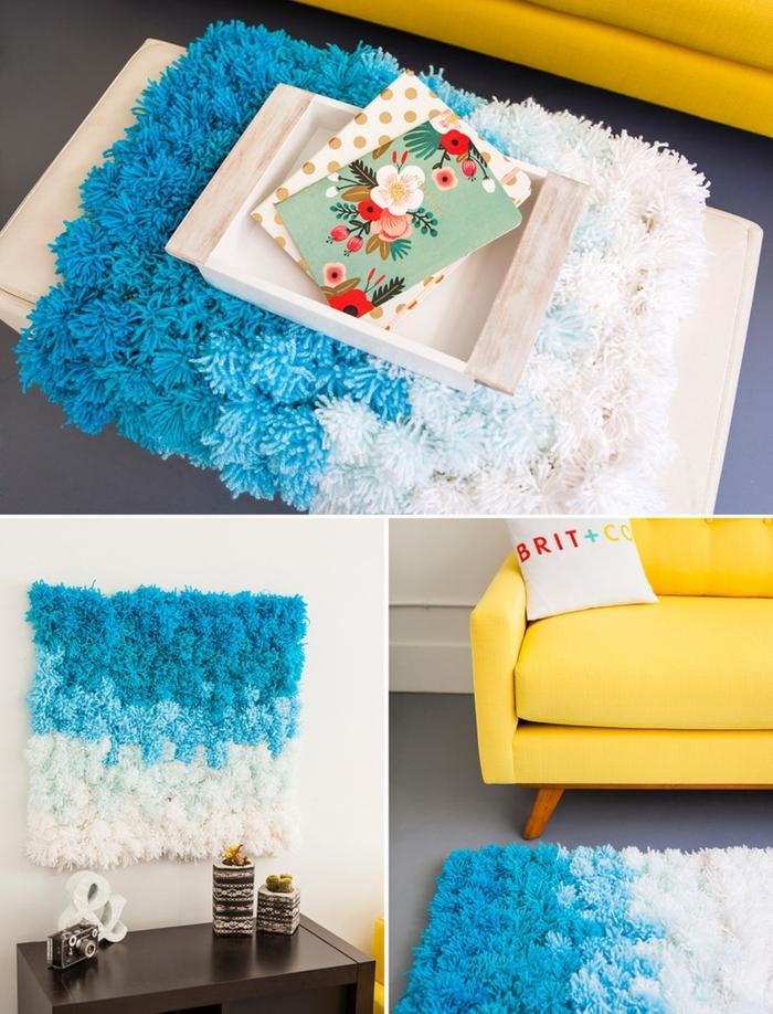 ideas de manualidades para hacer en casa, preciosa alfombra para decorar la pared o el suelo hecha de pompones en los tonos de azul