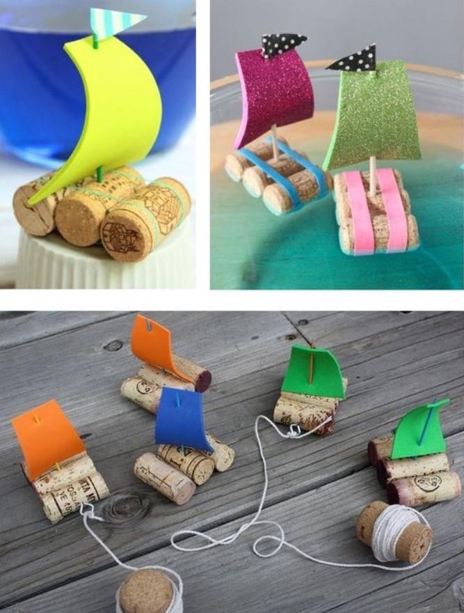 mini barcos hechos de materiales reciclados, manualidades para niños de 6 a 12 años, simpáticas ideas de manualidades paso a paso