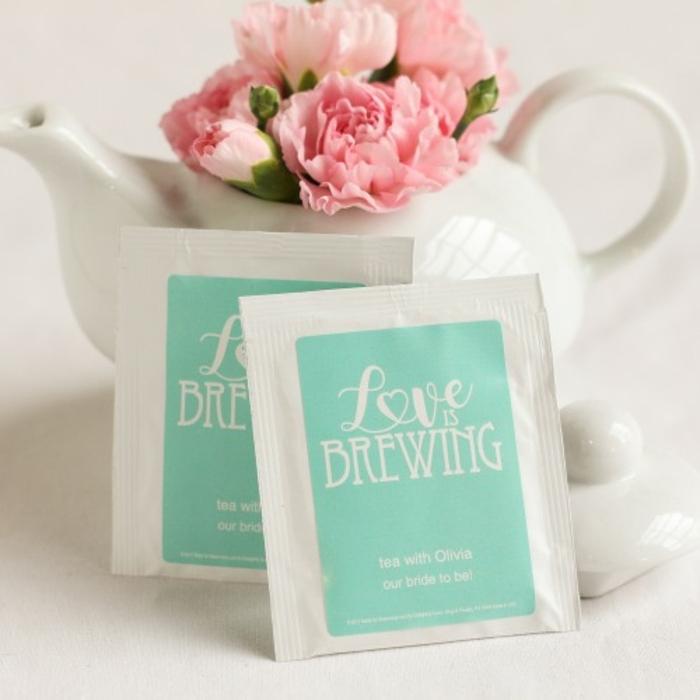 tetero y bolsas de té personalizadas, detalles de boda para los invitados de boda, ideas de recuerdos unicos para tus invitados
