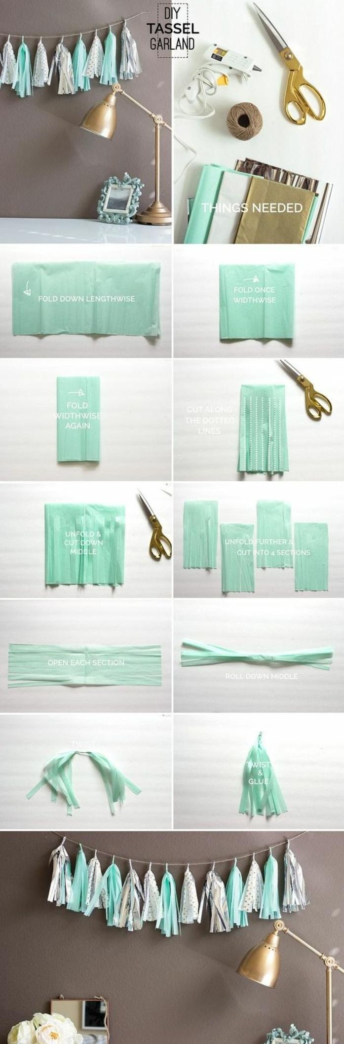 guirnaldas caseras para hacer en verano, guirnaldas con borlas en color blanco y verde menta, decoración salón casera