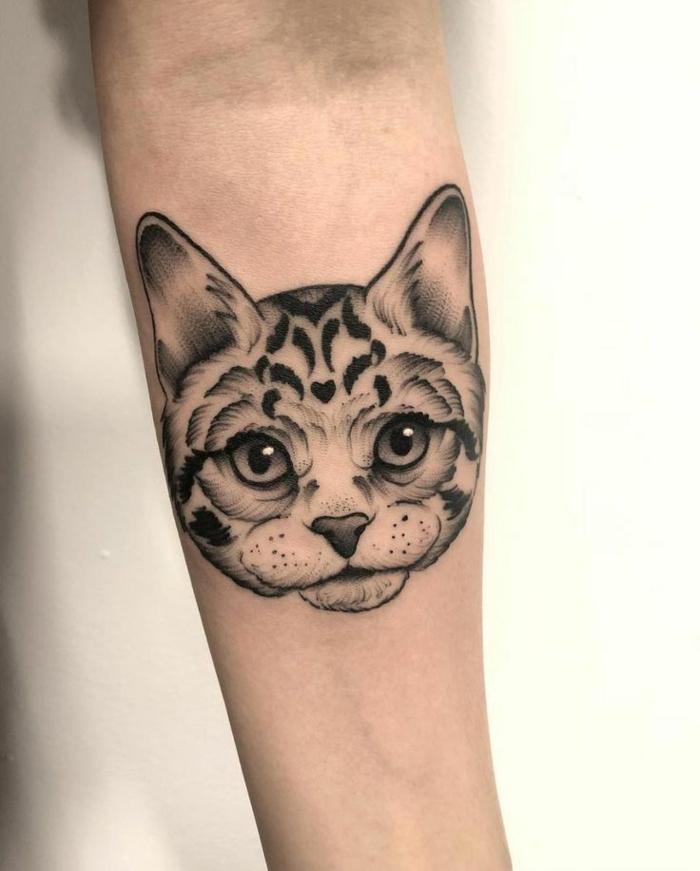tatuaje gato en el antebrazo, ideas de tattoos con mascotas, originales ideas de tatuaje familia, fotos de tatuajes originales
