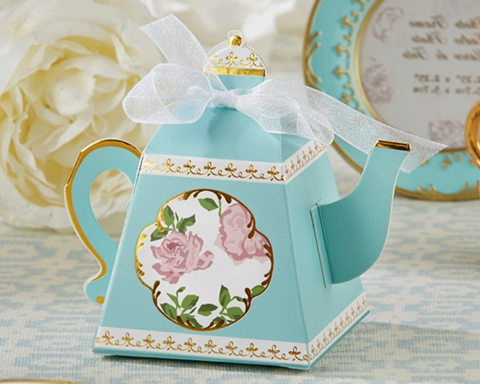 detalles de boda para mujeres, caja decorada en forma de tetero, ideas de regalos personalizados para los amantes del té