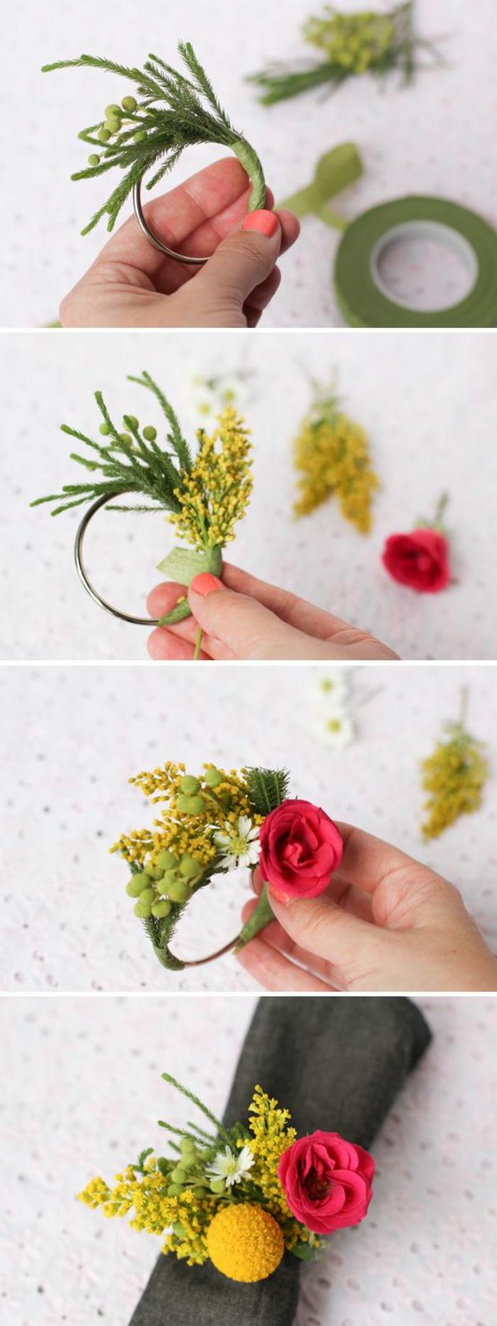 como hacer un centro de mesa DIY paso a paso, manualidades caseras originales, decoración mesa con detalles con motivos florales