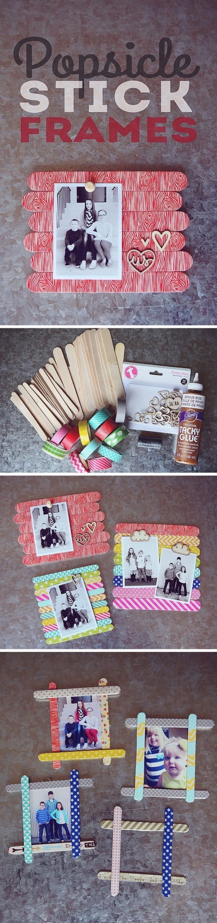 qué regalar para el día de la madre, marcos de fotos DIY hechos de materiales recilados, manualidades sencillas para niños