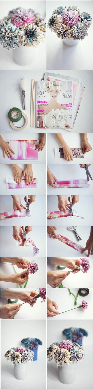 ideas de manualidades de papel, flores de papel pintados en bonitos colores, manualidades para niños faciles y rapidos
