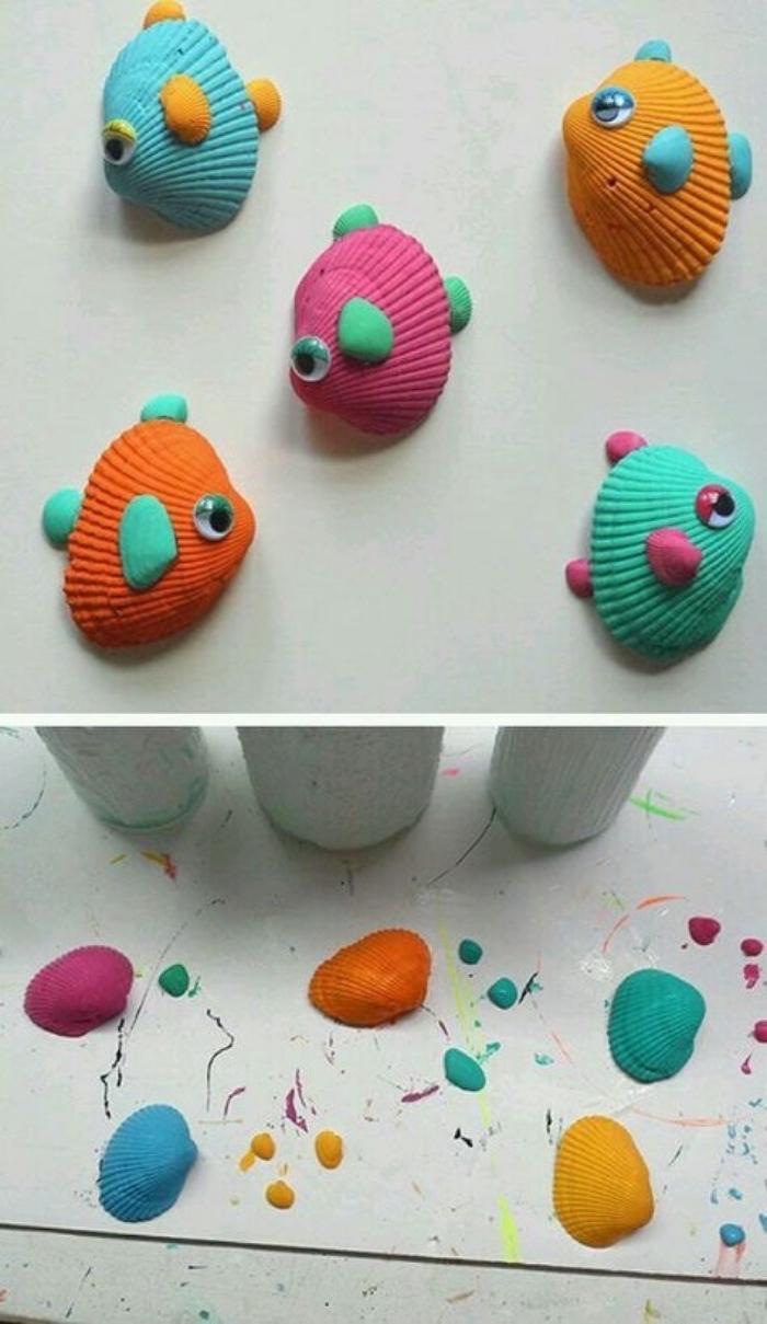 ideas sobre manualidades sencillas para niños pequeños, conchas pintadas en bonitos colores, manualidades para fomentar la creatividad en los niños