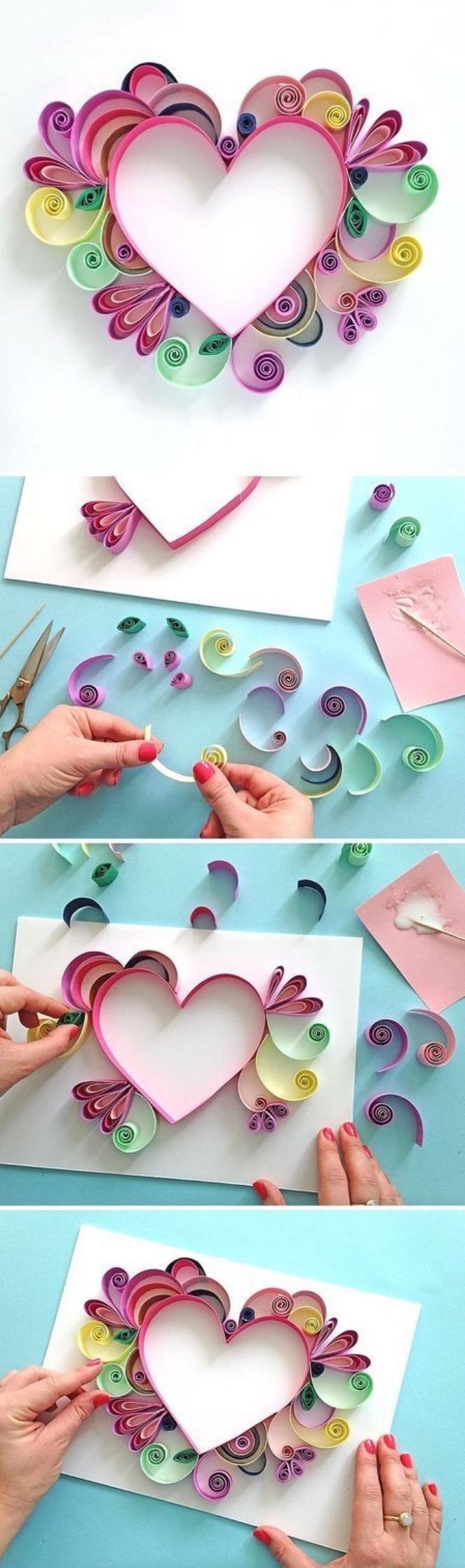 preciosas decoraciones con papel, cuadros para regalar unicos para el Día de la madre, ideas de manualidades sencillas para niños