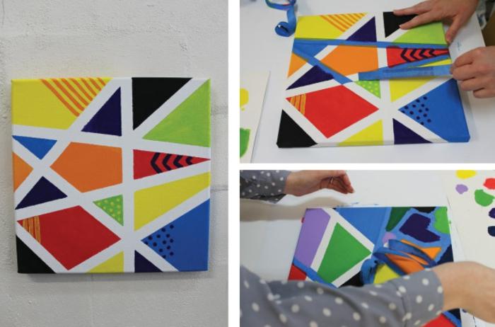 cuadro DIY super fácil de hacer con pintura en colores y cinta adhesiva, manualidades sencillas para niños divertidas