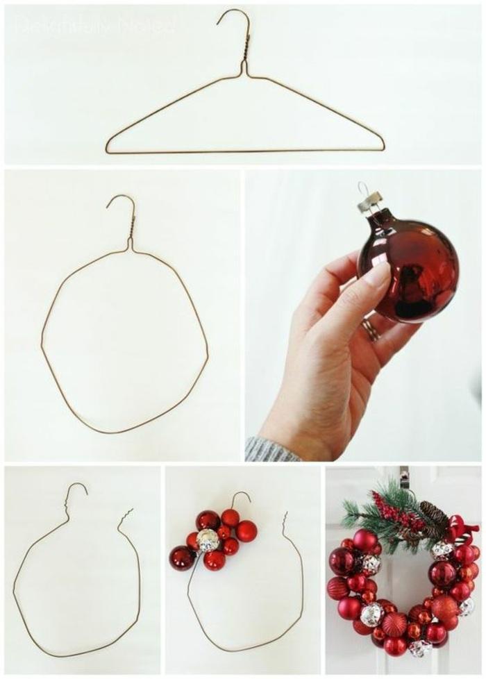 corona decorativa hecha de bolas de navidad en color rojo y percha de metal, manualidades decoracion para navidad