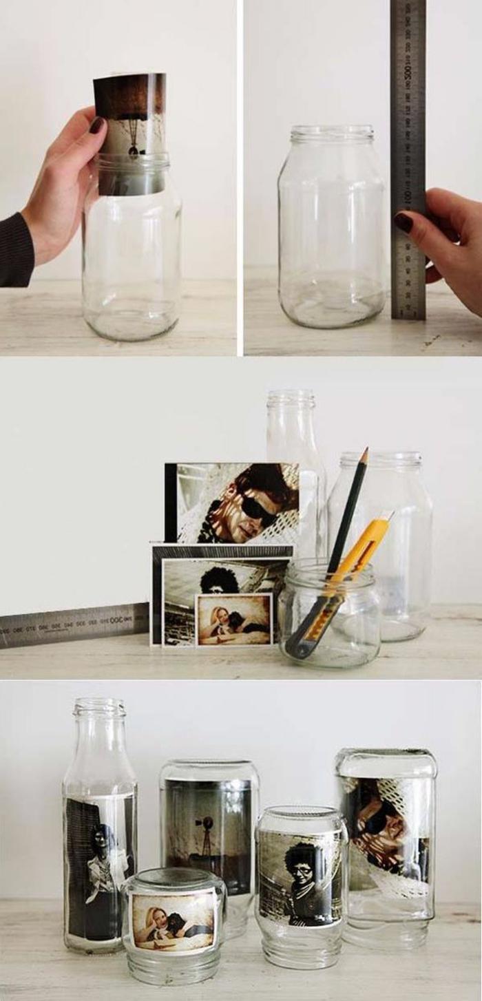 decoracion casera con fotos y frascos de cristal, ideas originales de manualidades decoracion, decoración en estilo minimalista