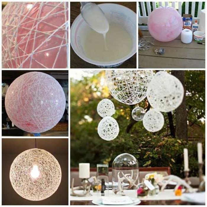 decoración casera para el jardín paso a paso, cómo hacer lámparas originales de hilo, globo y pegamiento blanco, manualidades para niños faciles y rapidos