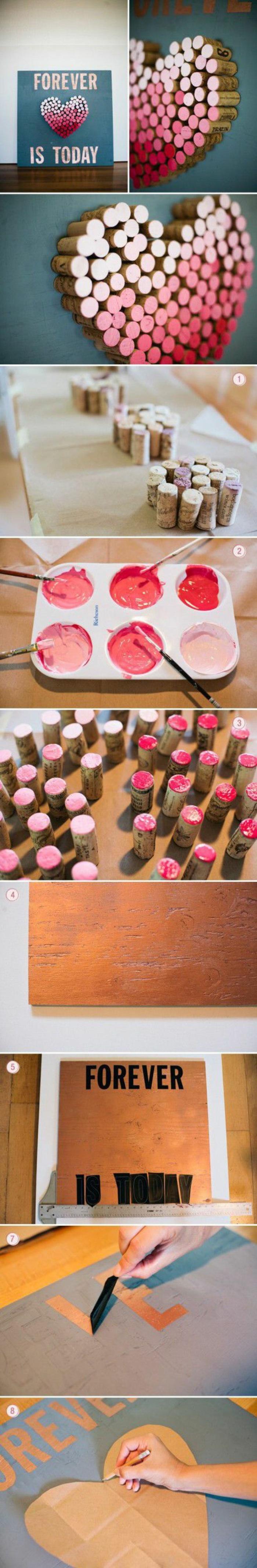 ideas de manualidades para niños faciles y rapidos con materiales de reciclaje, decoración para la pared hecha de tapas de corcho