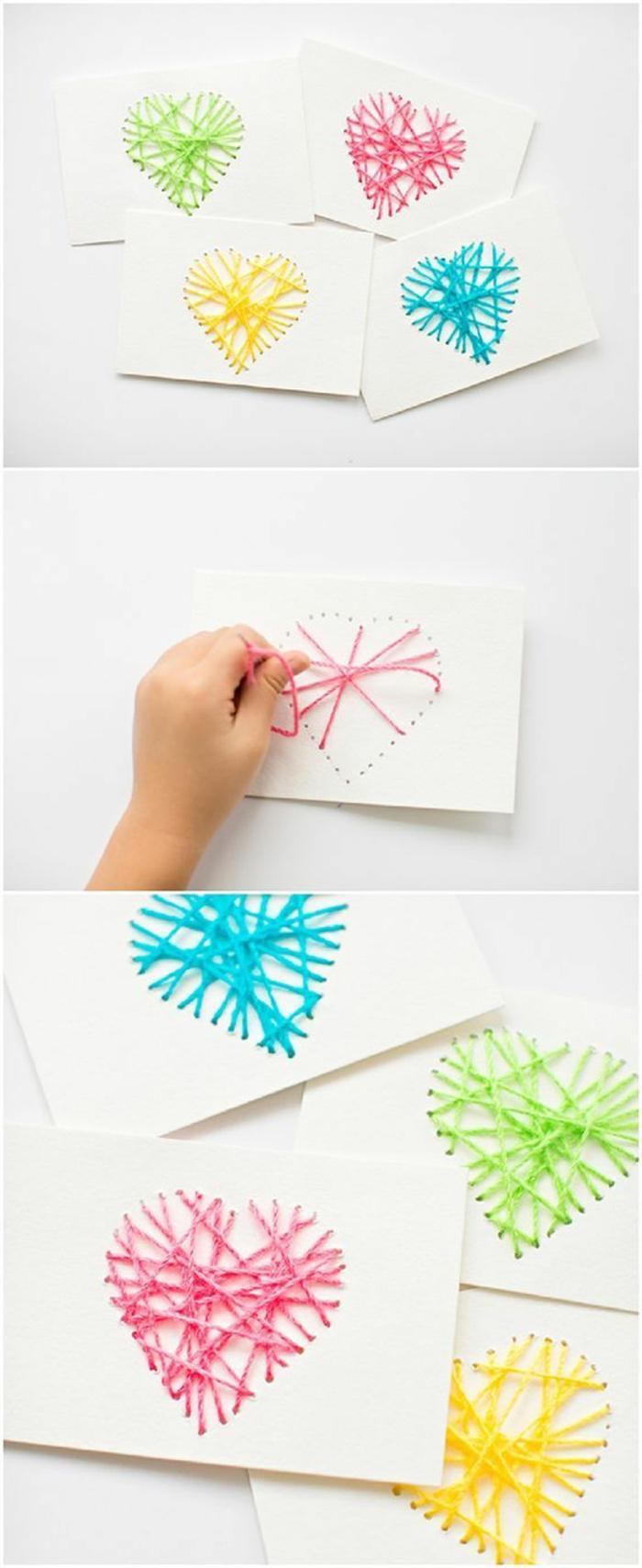 ideas de manualidades para niños faciles y rapidos, regalos para San Valentín hechos a mano, tarjetas con corazones en colores
