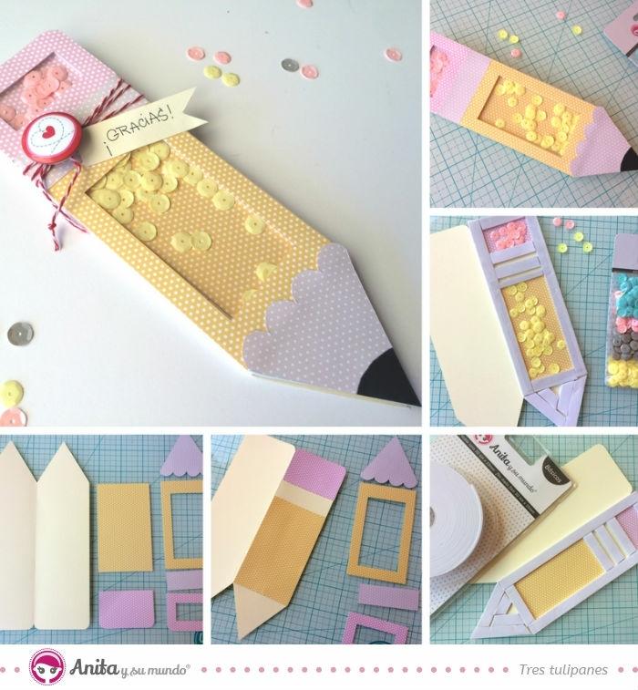 tarjeta lápiz DIY para regalar a tu profesora, dedicatorias para profesoras y regalos hechos a mano originales, 90 ideas en fotos