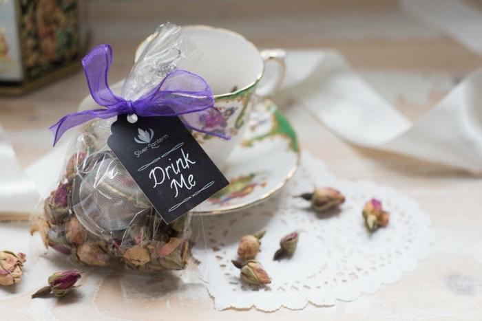 bolsas de té de rosas secas, detalles de boda baratos, originales ideas de pequeños regalos para los convidados a tu boda