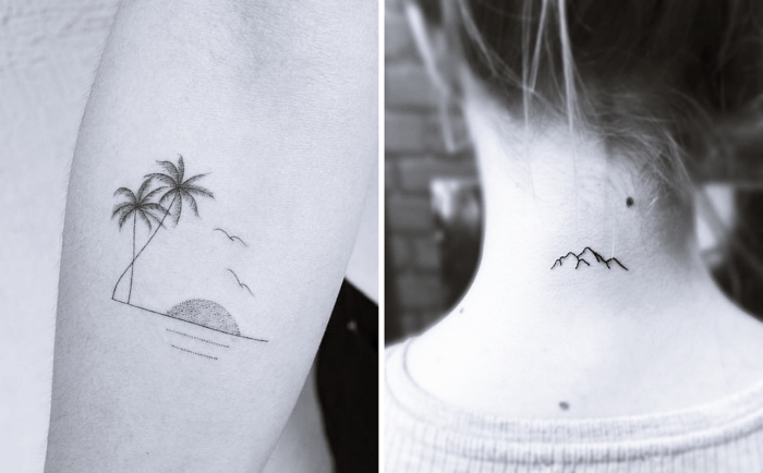 bonitos diseños de tatuajes de tamaño pequeño, tatuajes pequeños para mujer con fuerte significado, tattoos en la nuca