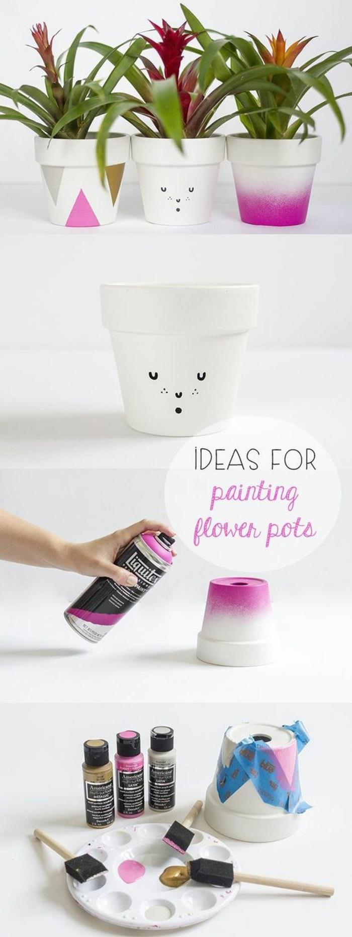 ideas únicas de manualidades decoracion, cómo hacer macetas personalizadas en dos colores, tutoriales de manualidades fáciles