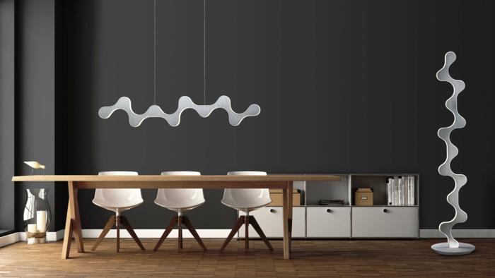 las mejores ideas de lámparas led de techo para tu hogar, comedor en estilo contemporáneo decorado en tonos oscuros