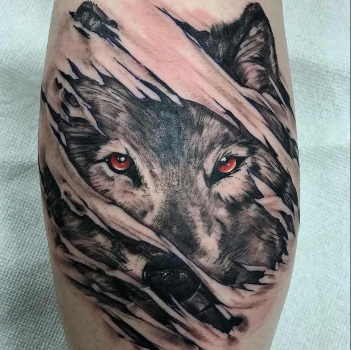 bonitas ideas de tatuaje lobo, los mejores diseños de tattoos con animales salvajes, tatuajes en el antebrazo originales