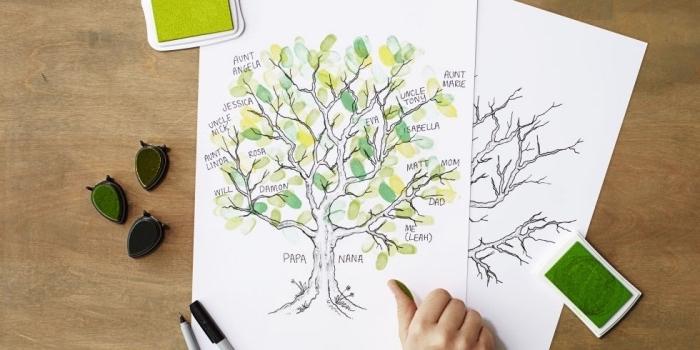 dibujos originales, ideas para fomentar la creatividad en los niños, dibujo árbol genealógico, manualidades sencillas para niños