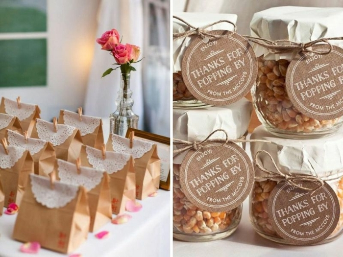 más de 90 ideas de detalles de boda originales para invitados, bolsas con palomitas originales, frascos personalizados