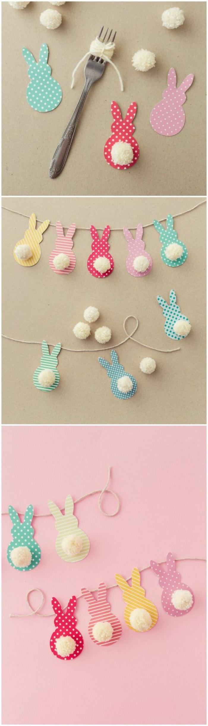 ideas de manualdiades desde casa para el verano, guirnalda colorida de pequeños conejos de papel hechos a mano