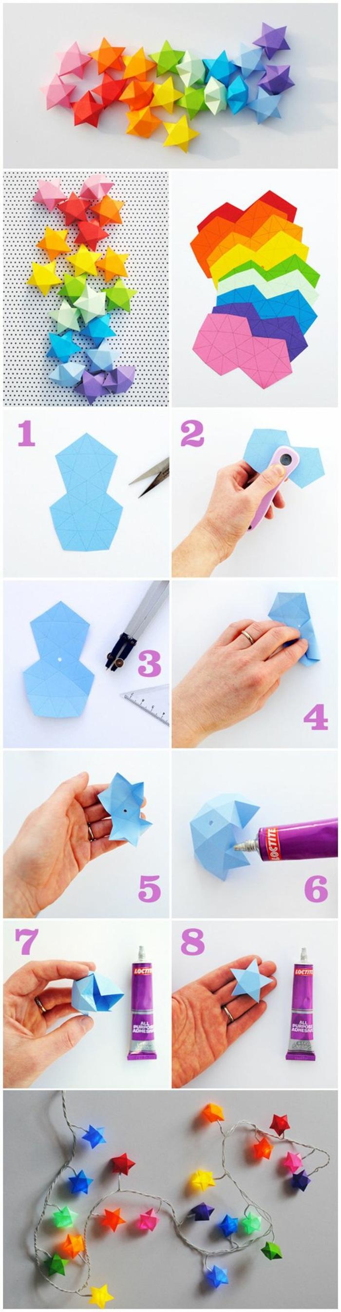 interesantes propuestas de talleres para niños, guirnalda colorida de papel en forma de estrellas, manualidades rápidas y originales