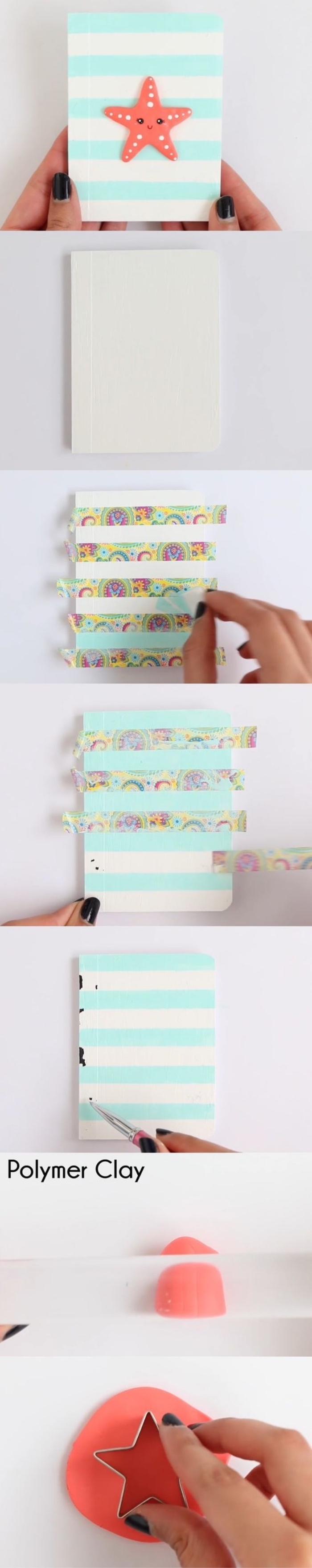 ideas unicas de manualdiades desde casa, cuaderno decorado para el verano, ideas de manualidades con washi tape