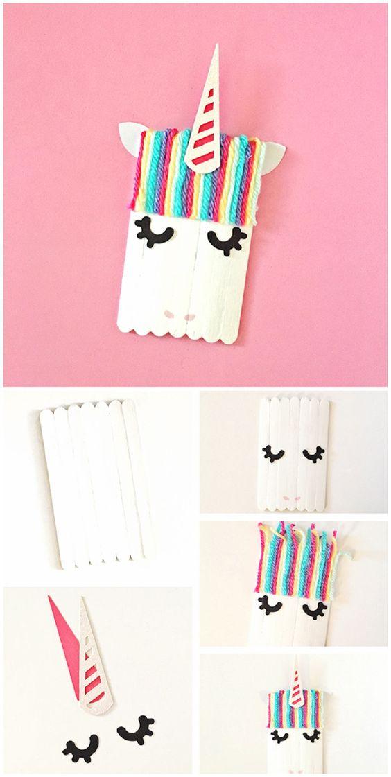 pequeño unicornio hecho a mano, ideas de pequeocio para los niños, manualidades faciles para hacer en casa en verano
