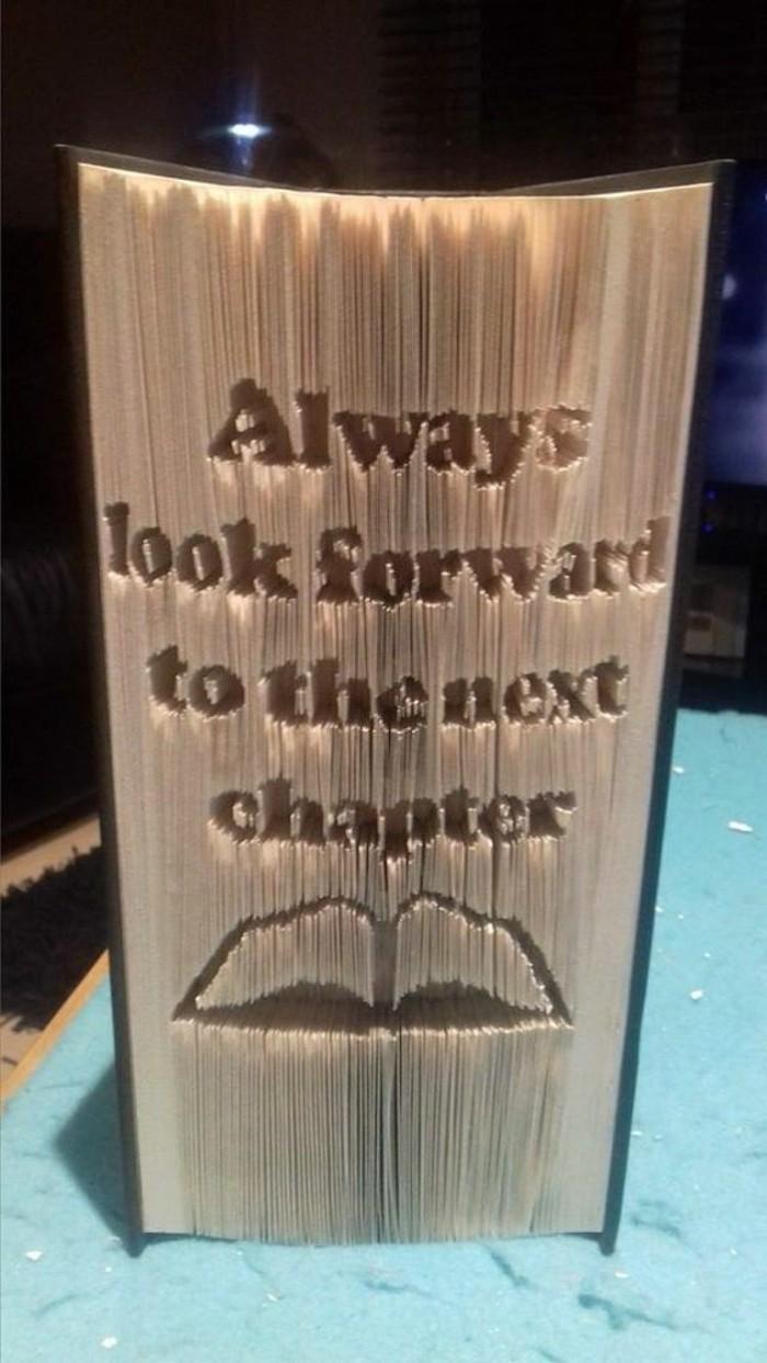 frase motivadora escritaa en un libro con la técnica del plegado, ideas de libro pop up, galeria de imagines