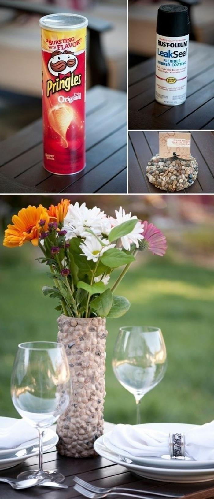 florero DIY hecho de materiales de reciclaje, talleres para niños paso a paso, manualidades para decorar el jardín
