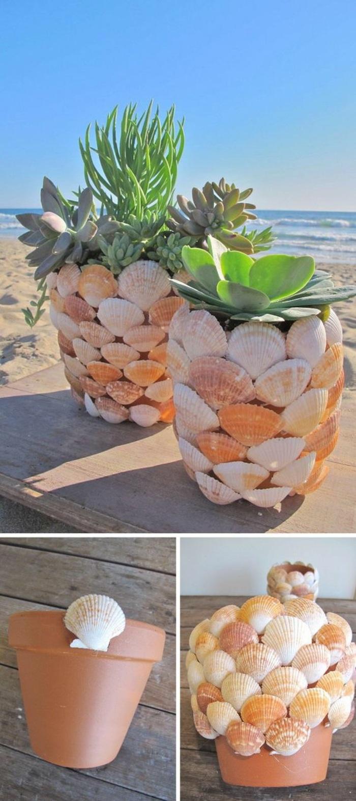 macetas decoradas de conchas, talleres para niños para las vacaciones de verano, ideas de decoración casera paso a paso