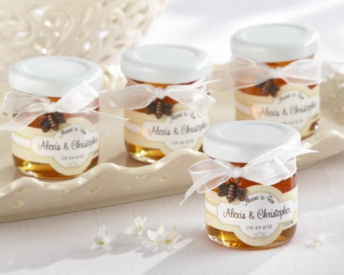 frascos de miel personalizados, ideas de regalos caseros, detalles de boda originales para invitados, botes de miel personalizados